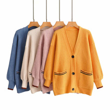 Cardigans Autumn Women's Full Puff Sleeve Knitted V-Neck Solid Sweater Casual Slim Long Sleeve Coat Cardigan Outwear with Pocket pocket design v neck striped sleeve cardigan
