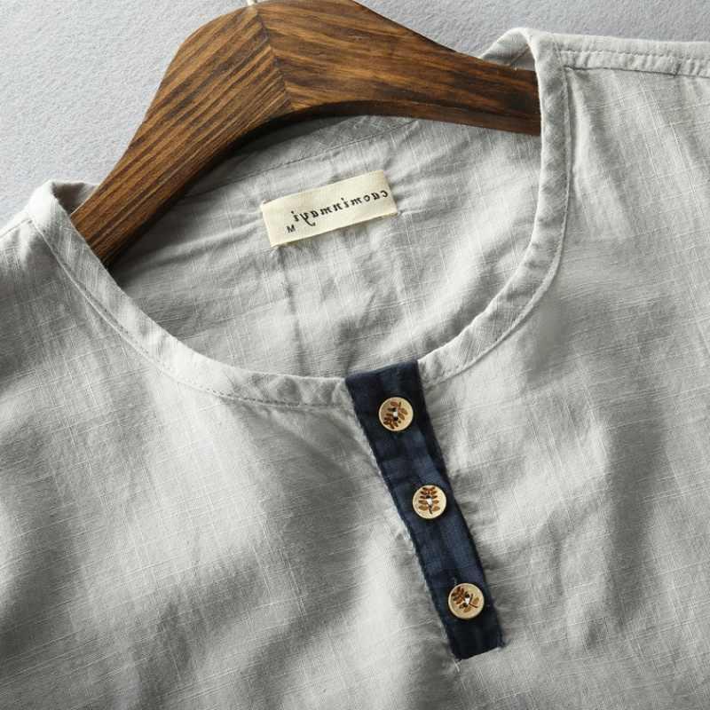 גברים קיץ אופנה מותג סין סגנון Vintage כותנה פשתן O-צוואר קצר שרוול חולצות ה-t זכר מזדמן דק טי חולצות בד