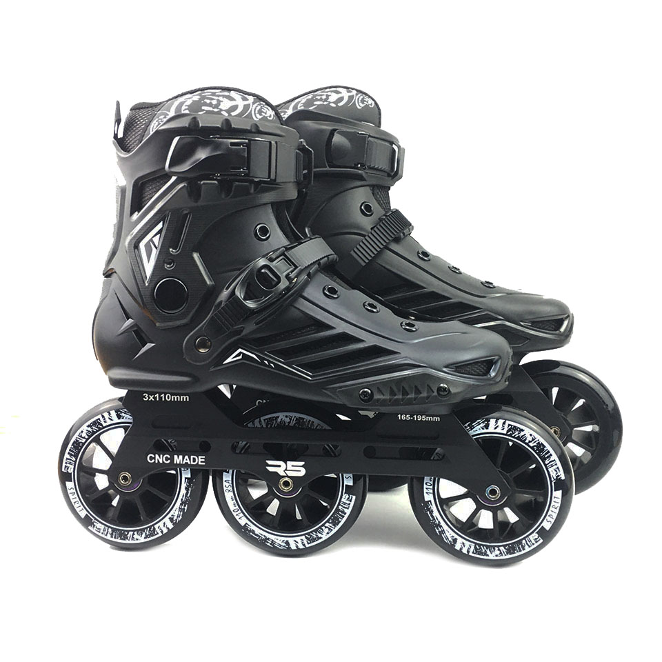 JK RS6 Speed Inline Roller Skates Professional Roller Skating Shoes For Adult 3 Or 4 *110mm Wheels Patines FSK Rollerblade SH55