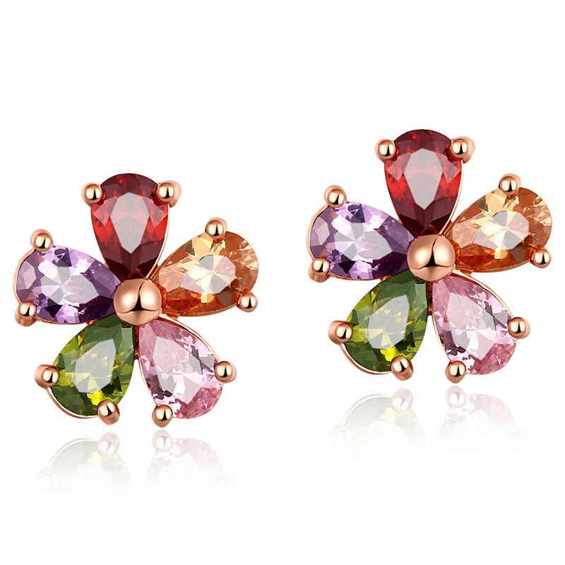 High Quality Women Colorful Crystal Stud Earring Flower AAA Cubic Zirconia Earrings Ear Jewelry for Women Wedding Party Gift