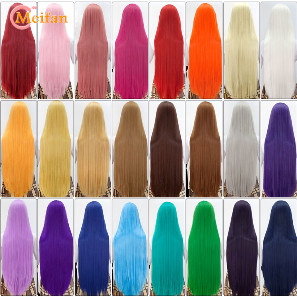 MEIFAN 100CM Cosplay Anime Costume Wigs Blonde Blue Red Pink Purple Hair For Party Long Straight Synthetic Cosplay Wigs For Wome