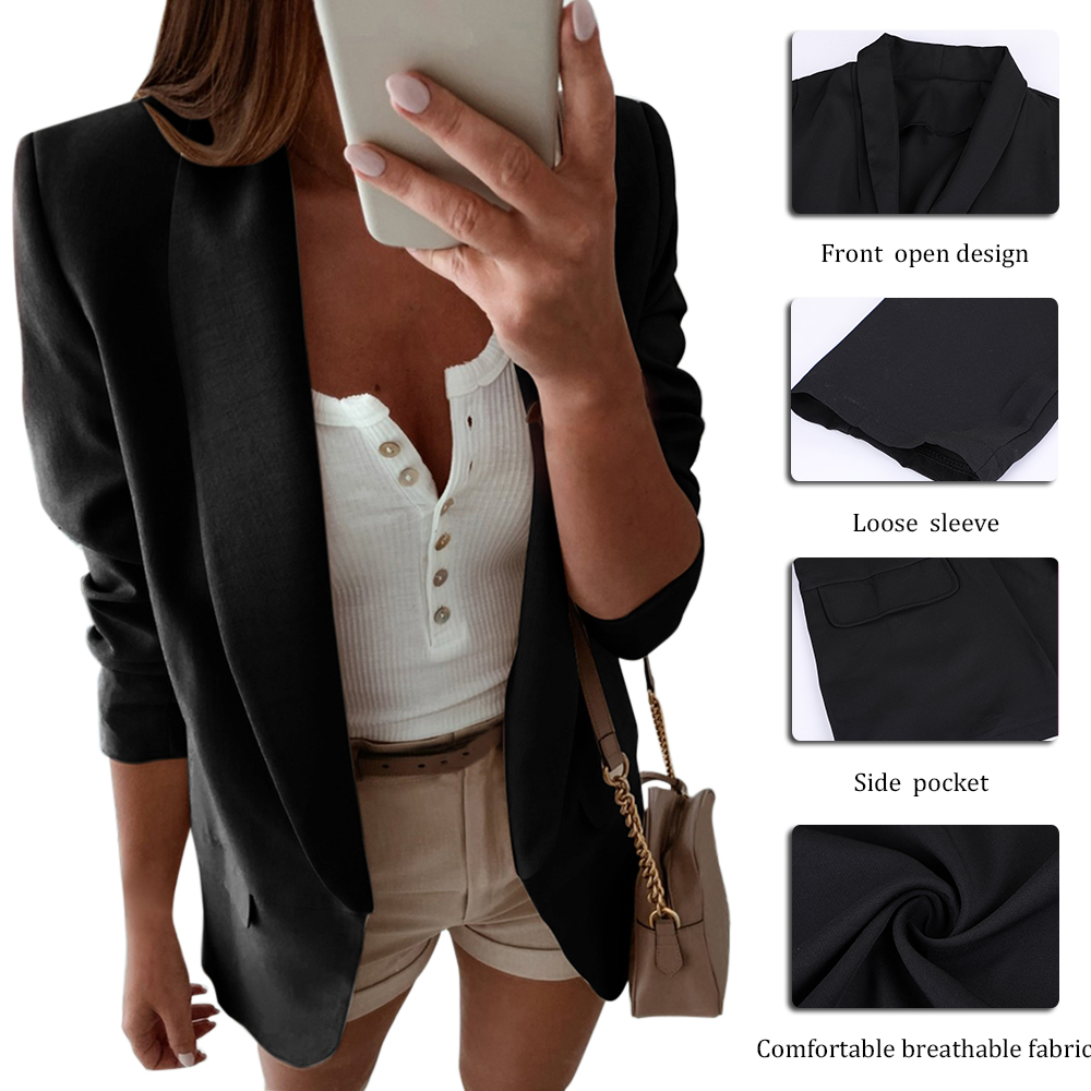 Women Turn Down Collar Suit Jacket Autumn Solid Lapel Slim Fit Blazer Jacket Ladies Business Office Coat Cardigan Outerwear Tops