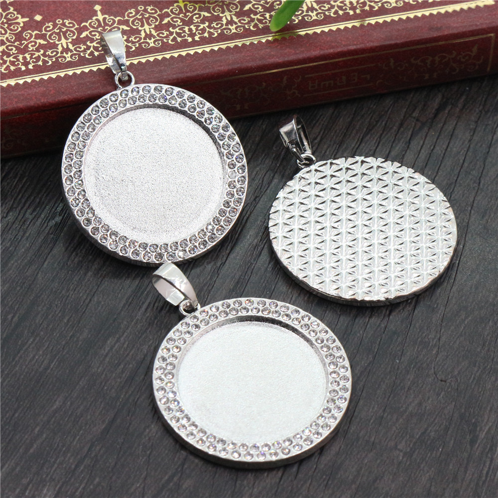 New Fashion 2pcs 25mm Inner Size Rhodium Plated Transparent Colors Rhinestone Cabochon Base Setting Charms Pendant-R7-28