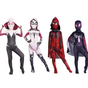 Cossky Gwendolyn Maxine костюмы для девочек паук Гвен Стейси Косплей Плащ аниме комбинезоны паук Детский костюм на Хэллоуин
