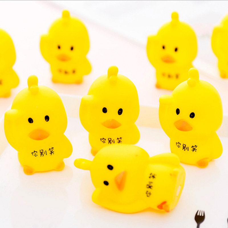 1X Cute Soft Rubber Screaming Yellow Duck Squeeze Sound Squeaky Toy Toys For Children Kids Gift