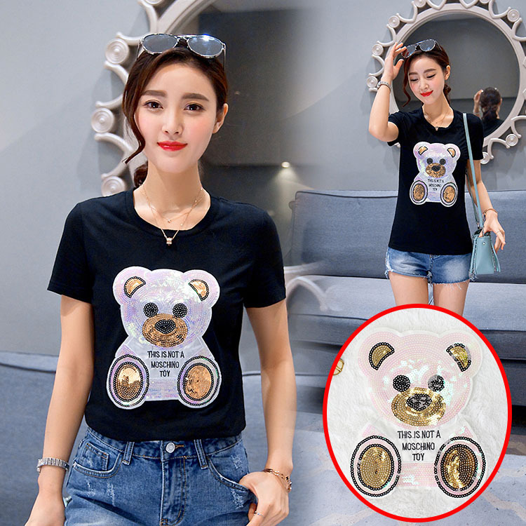 Embroidered Sequins Large Bear Fashion Cloth Decorations DIY Repair Accessories Beads Embroidered Edge