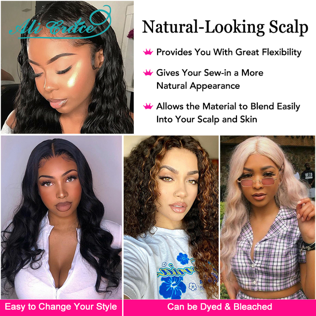 Ali Grace Wigs Brazilian Deep Wave Wigs with Baby Hair 5inch Deep Part Lace Wigs Pre Plucked Human Hair Lace Part Wigs for Women