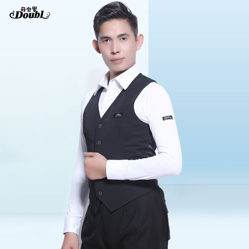 Doubl New Arrivals Waistcoat Waltz Tops Vest Jazz Ballroom Dance Latin Men's Button Black Stripe StrPerformance Dancewear Shirt
