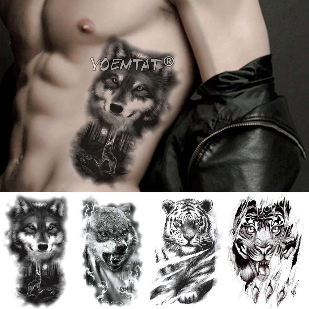 Moon Forest Wolf Temporary Tattoo Sticker Lion Tiger Waterproof Tatto Warrior Animal Body Art Arm Fake Tatoo Men Women