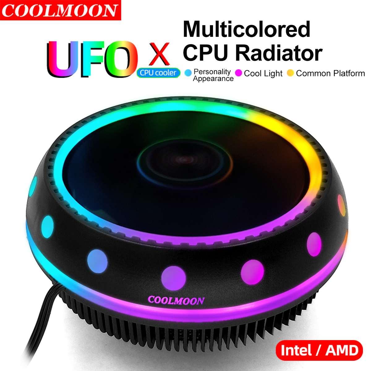 Aluminum 3 Pin CPU Cooler Radiator RGB Heat Sink Silent PC CPU Cooling Cooler Heatsink Fan For Intel LGA/115X/775/1366/AM3/AM4