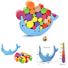 Balance Training Dolphin Building Blocks Early Education Desktop GameToys Wooden Stacking Desk Game Puzzle Toy For Children