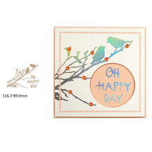 Oh Happy Day Hot-selling Words Bird Plum Blossom Branch Pattern Hot Foil Plates for Scrapbooking DIY Paper Cards Crafts New 2019