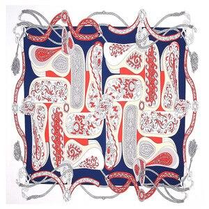 Image 4 - 2020 Nuova Cinghia Paisley Sciarpa Quadrata di Lusso di Marca 100% Twill di Seta Della Sciarpa Della Donna Bandana Fazzoletto Scialle Sciarpe per La Signora