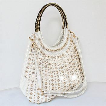 Luxury Designer Diamond Women's Handbags Fashion Leather Crossbody Shoulder Bag Rhinestone Large Capacity Package rhinestone bag