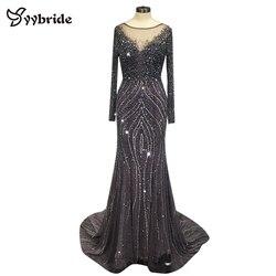 Yybride ısmarlama günlerinde zarif kristaller abiye uzun kollu tekne boyun balo kıyafetleri Backless Mermaid parti elbise