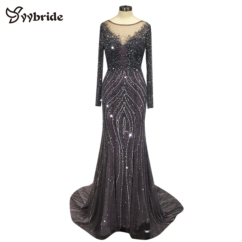 Yybride Bespoke Occasion Elegant Crystals Evening Dresses Long Sleeve Boat Neck Prom Dresses Backless Mermaid Party Dresses