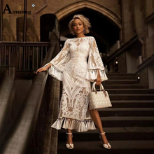 Aimsnug Boho Lace Solid White Perspective Thin Female The Dress Round Neck Embroidery Tassel Bilateral split 2019 Women Dresses