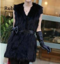 Rubilove Furry 2019 Winter Womens Faux Fur Coat Artificial Vest Vests Femme Jackets Plus Size Fake Gilet
