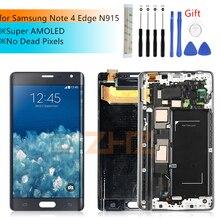 Montaje de digitalizador de pantalla táctil lcd para SAMSUNG Galaxy Note 4 Edge, SUPER AMOLED, N915, N915FD, N915F, con piezas de reparación de Marco