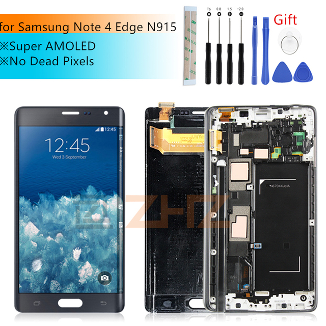 SUPER AMOLED For SAMSUNG Galaxy Note 4 Edge lcd N915 N915FD N915F LCD touch screen Digitizer Assembly with Frame repair parts