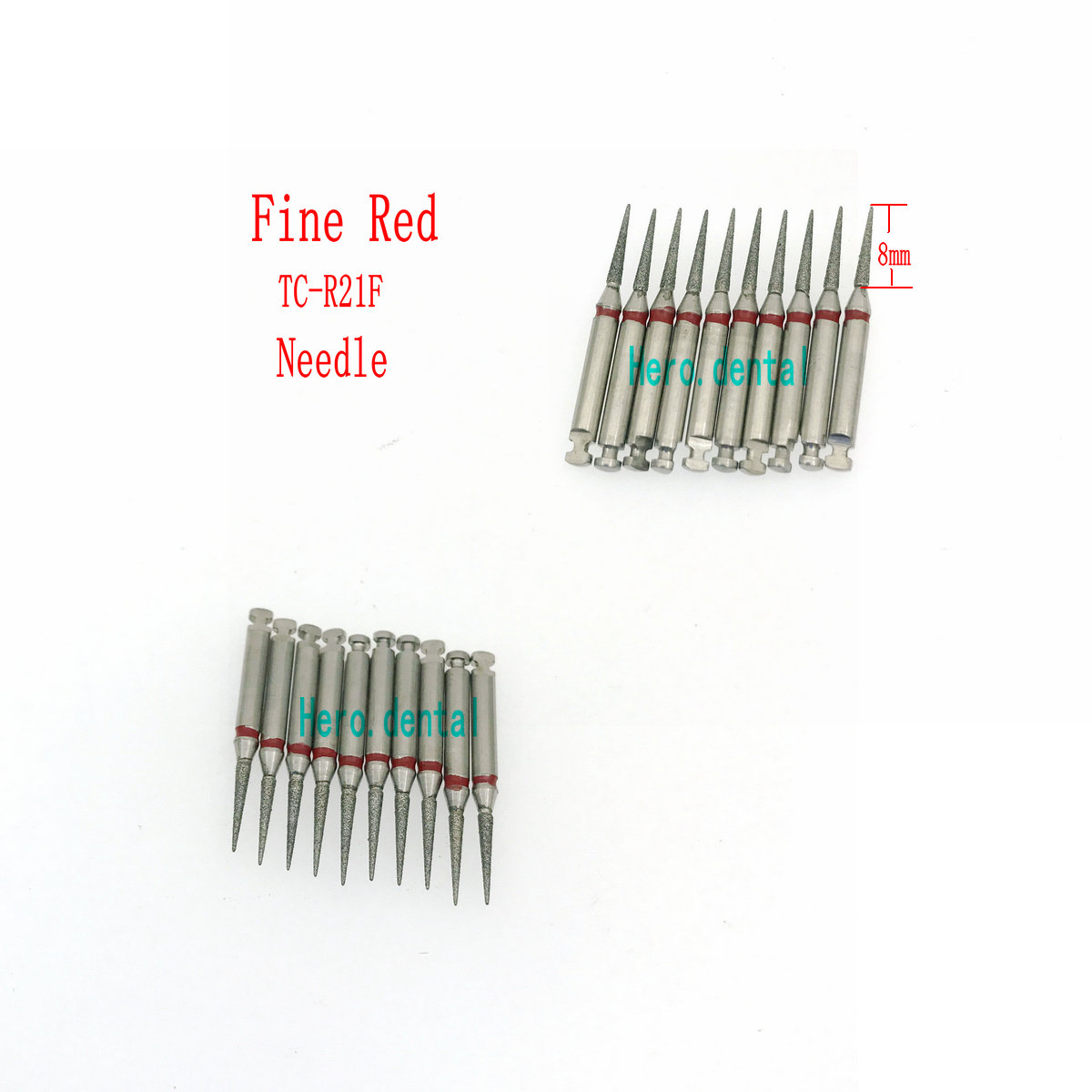 10Pcs RA 2.35mm Shank Handpiece Polisher Trimming Flat Low Speed Dental Diamond Burs End Cylinder Head Clinic Drill