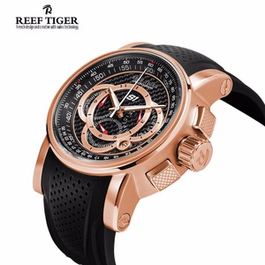 Image 3 - Спортивные часы Reef Tiger/RT от топ дизайнера, мужские кварцевые часы с хронографом из розового золота с датой, RGA3063, 2020