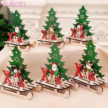 HUIRAN Christmas Wooden Assembled Snowmobile Ornaments Party DIY Decorations Gift Kids New Year Xmas Decor