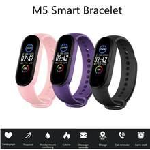 Masculino feminino m5 relógio inteligente monitor de freqüência cardíaca pressão arterial rastreador de fitness smartwatch banda esporte relógio para ios android fitness