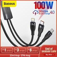 Baseus 2 en 1 de 100W USB Cable de tipo C rápido Cable de carga para iPhone 12 Pro Max rápido Cable de carga de tipo C para Xiaomi Redmi Nota 9