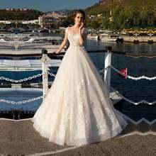 Винтажное свадебное платье в стиле бохо кружевное 2020 с рукавами