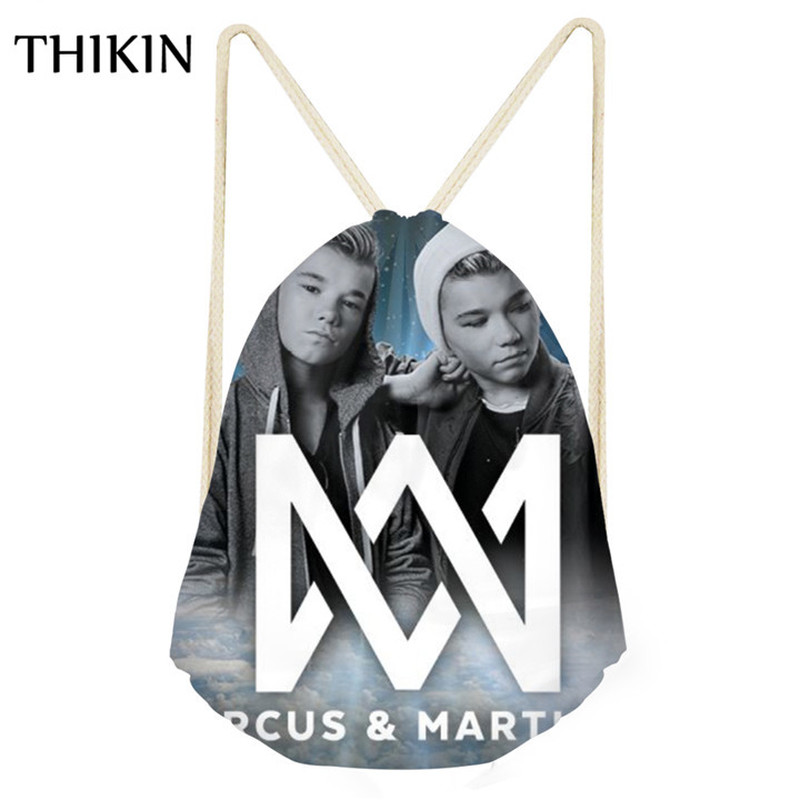THIKIN Women Small Gym Draw-string Bags Marcus And Martinus Print Sports Athletic Training Bag Girls Running Climb Rucksack