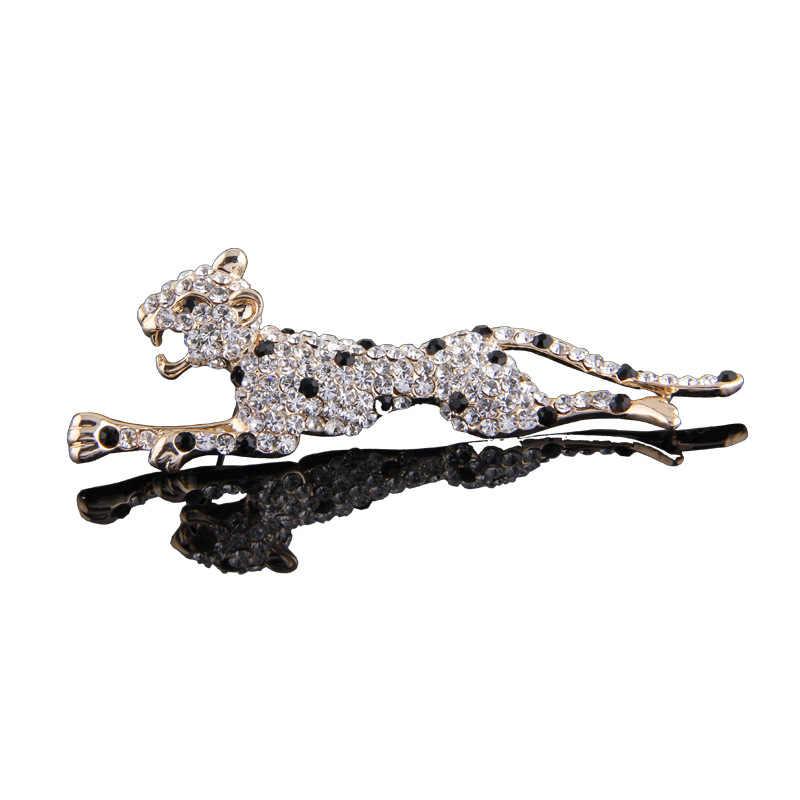 2019 de Moda de Nova Correndo Leopard Cristal Pin de Lapela de Metal Broche Cachecol Fivela de Strass Animais Broches para Os Homens Terno Acessórios