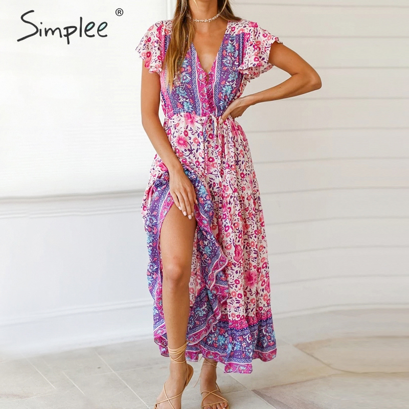 Simplee Floral Print Boho Dress Women Ruffled Sleeve V Neck High Waist Summer Dress Ladies Buttons Strap Slim Fit Bodycon Dress