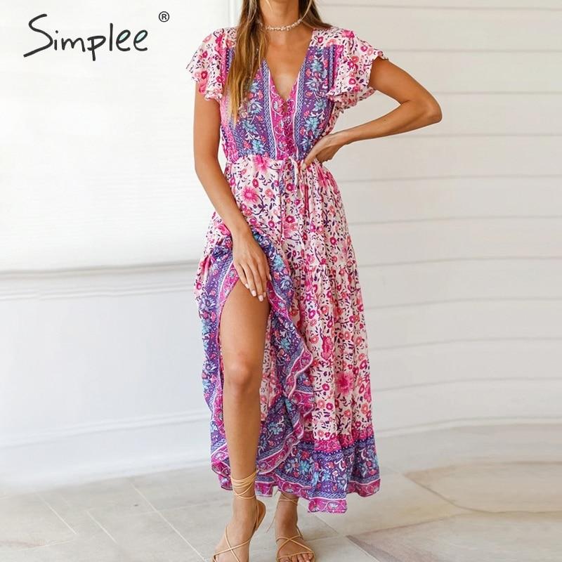 Simplee Floral Print Boho Dress Women Ruffled Sleeve V Neck High Waist Summer Dress Ladies Buttons Strap Slim Fit Bodycon Dress