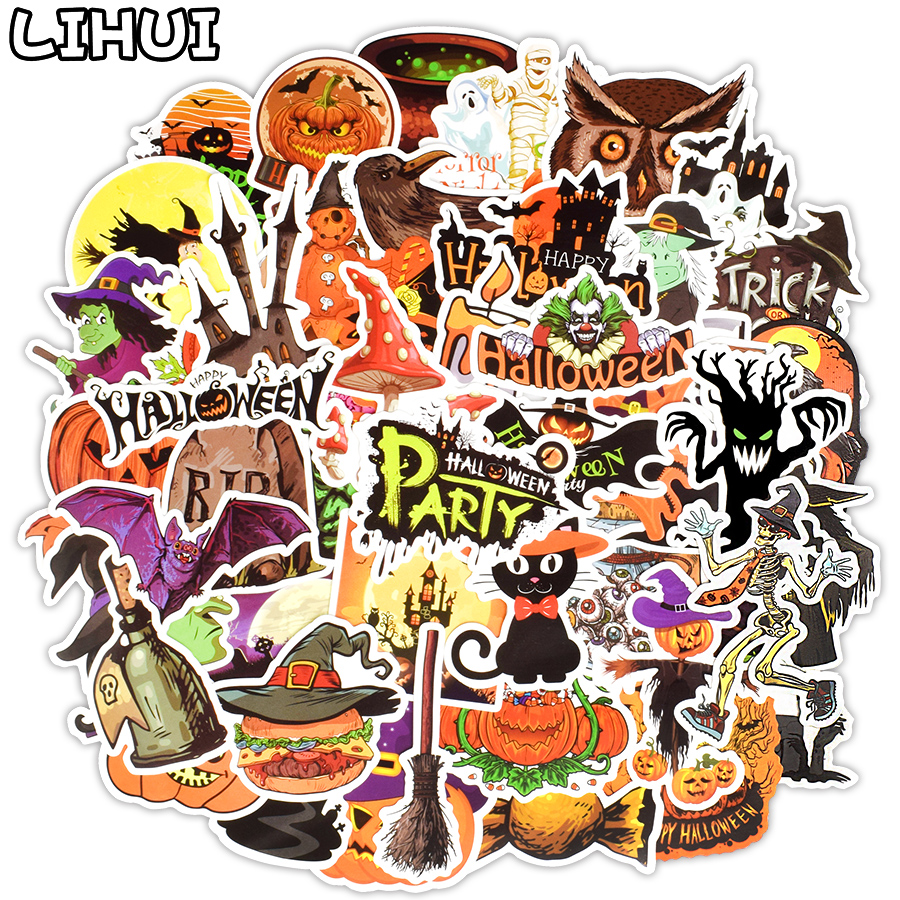 50 PCS Happy Halloween Stickers Horror Bat Ghost Demon Decal Decoration Party Sticker To Scrapbook Car Laptop Luggage Skateboard