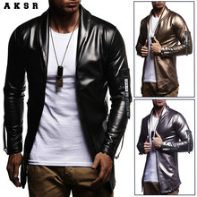 AKSR Men's Fashion Leather Jacket Coat Casual Jacket Long Sleeve Slim Motorcycle Jacket Tops(China)