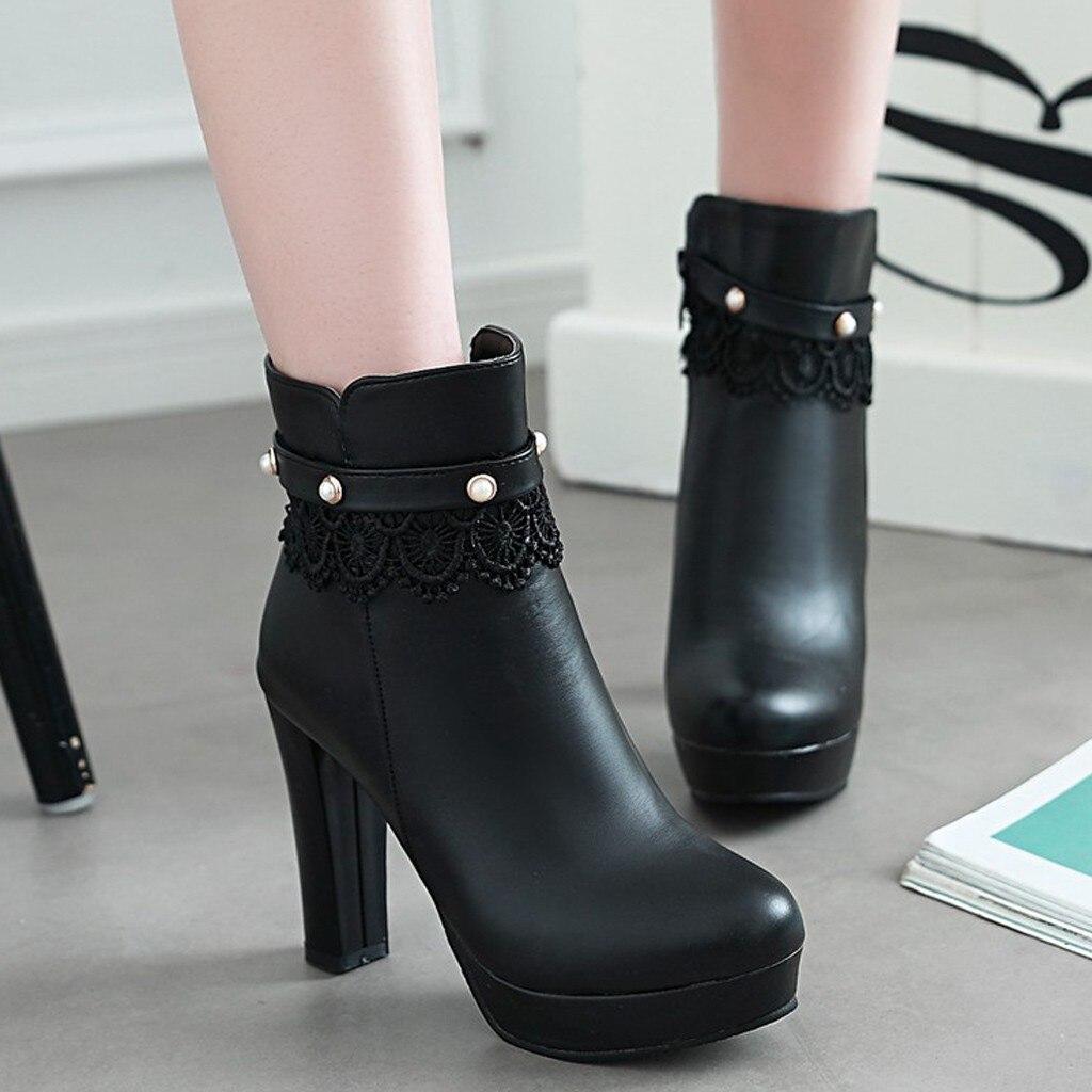 Черные женские ботинки; удобные ботильоны на высоком квадратном каблуке; модные ботинки на молнии с острым носком; сезон осень зима; женская