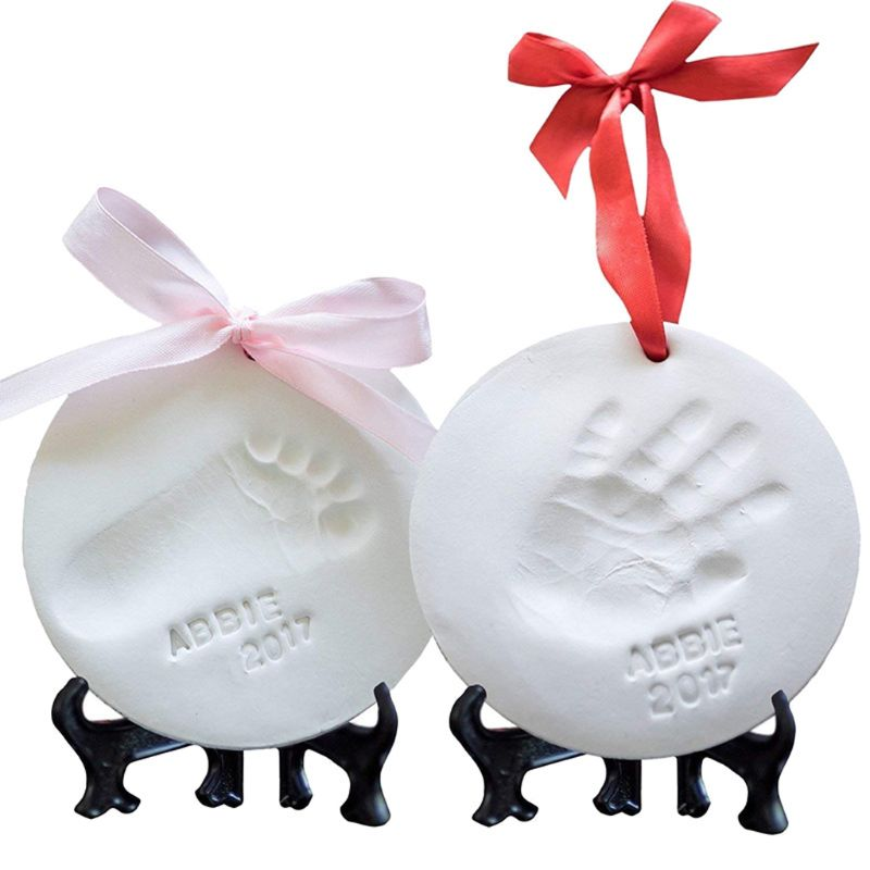 Baby Footprint Kit & Handprint Ornament Unique Baby Shower Gifts Nursery Decor Molding Rings Display Easels