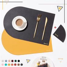 Black Yellow PU Placemats for Table Waterproof Non-Slip Leather Tableware Mat Set Kitchen Accessories Coaster Cup Luxury Mats