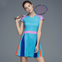 Badminton Dress Women's Quick-drying Slim Badminton Clothing Suits Tennis Dress with Safety Shorts