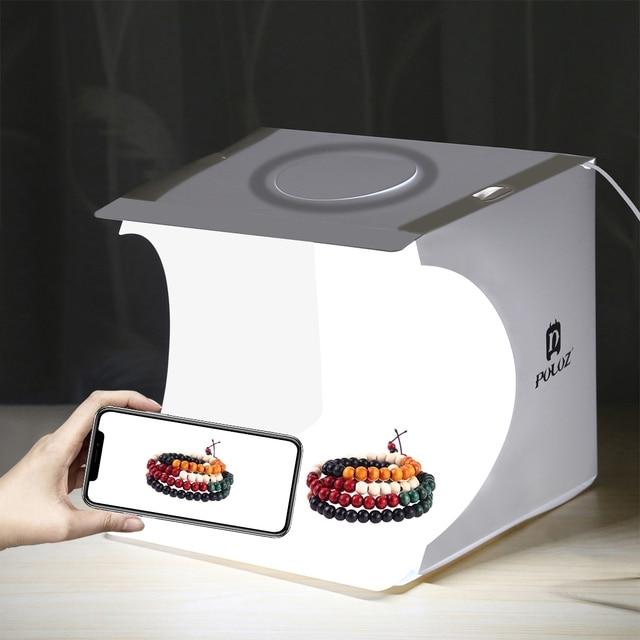 Portable Folding Ring LED Light Room Lightbox Photography Photo Studio Light Tent Soft Box Backdrops for Digital DSLR Camera