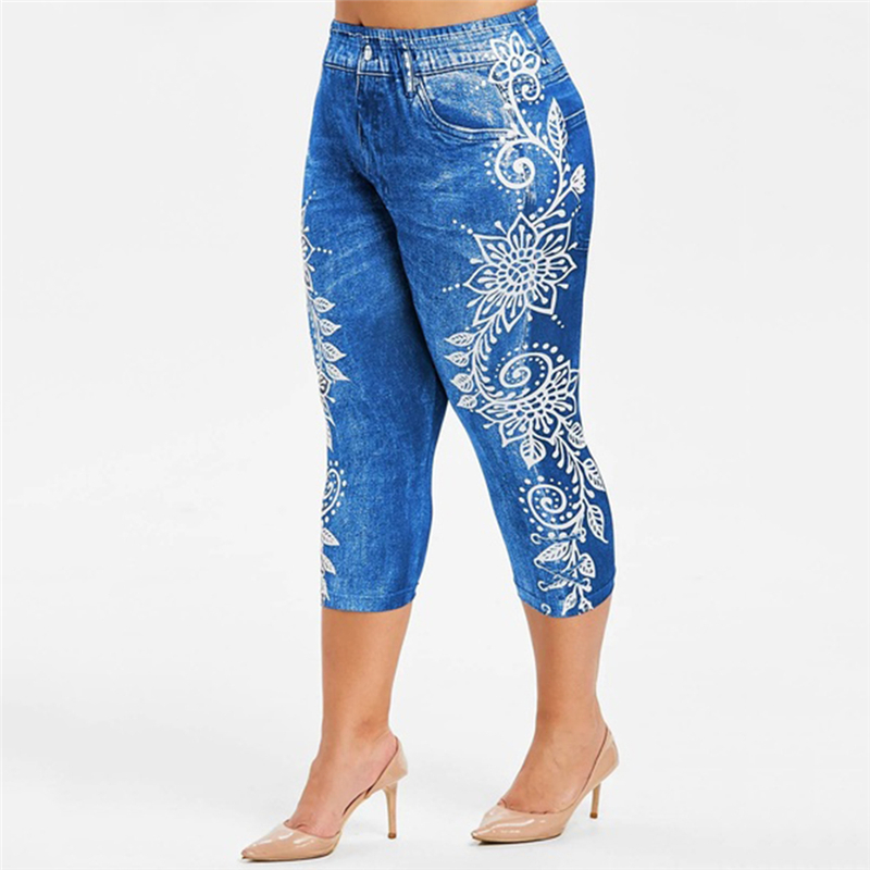 Printed False Denim Short Leggings 3\4 Women Jeans Leggings High Waist Breeches Capri Pants Super Elastic Jeggings Plus Size 2XL