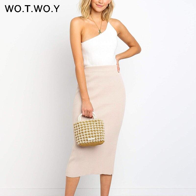 WOTWOY 2019 nouvelle mode élégant dos fendu moulante jupes doux hanches-enveloppé taille haute jupe bureau femmes Sexy élastique solide
