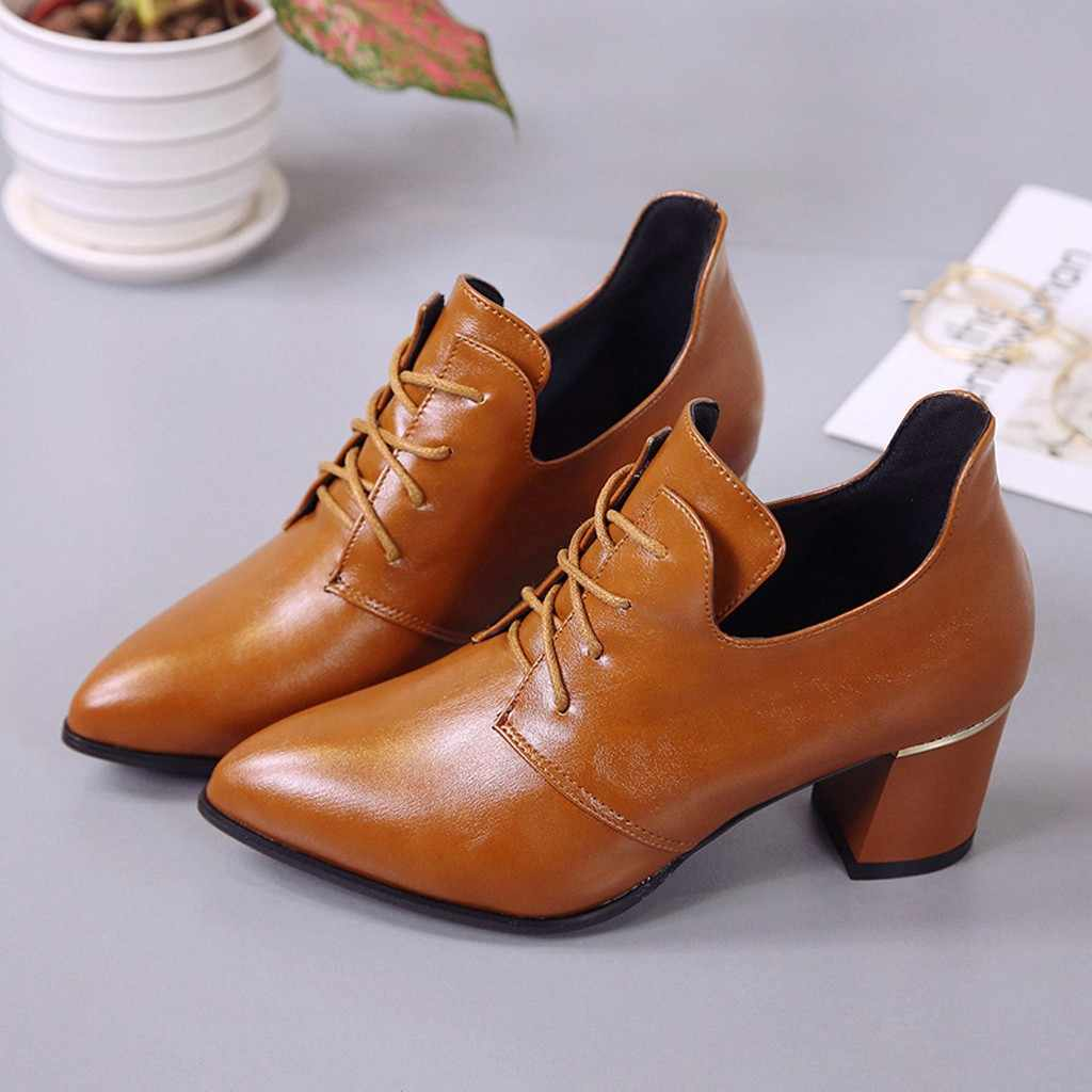 Pointed Lace Elegant และรองเท้าวินเทจสไตล์ของแข็งสี LACE-Up หนากลางสูงรองเท้าตื้นรองเท้า # Y