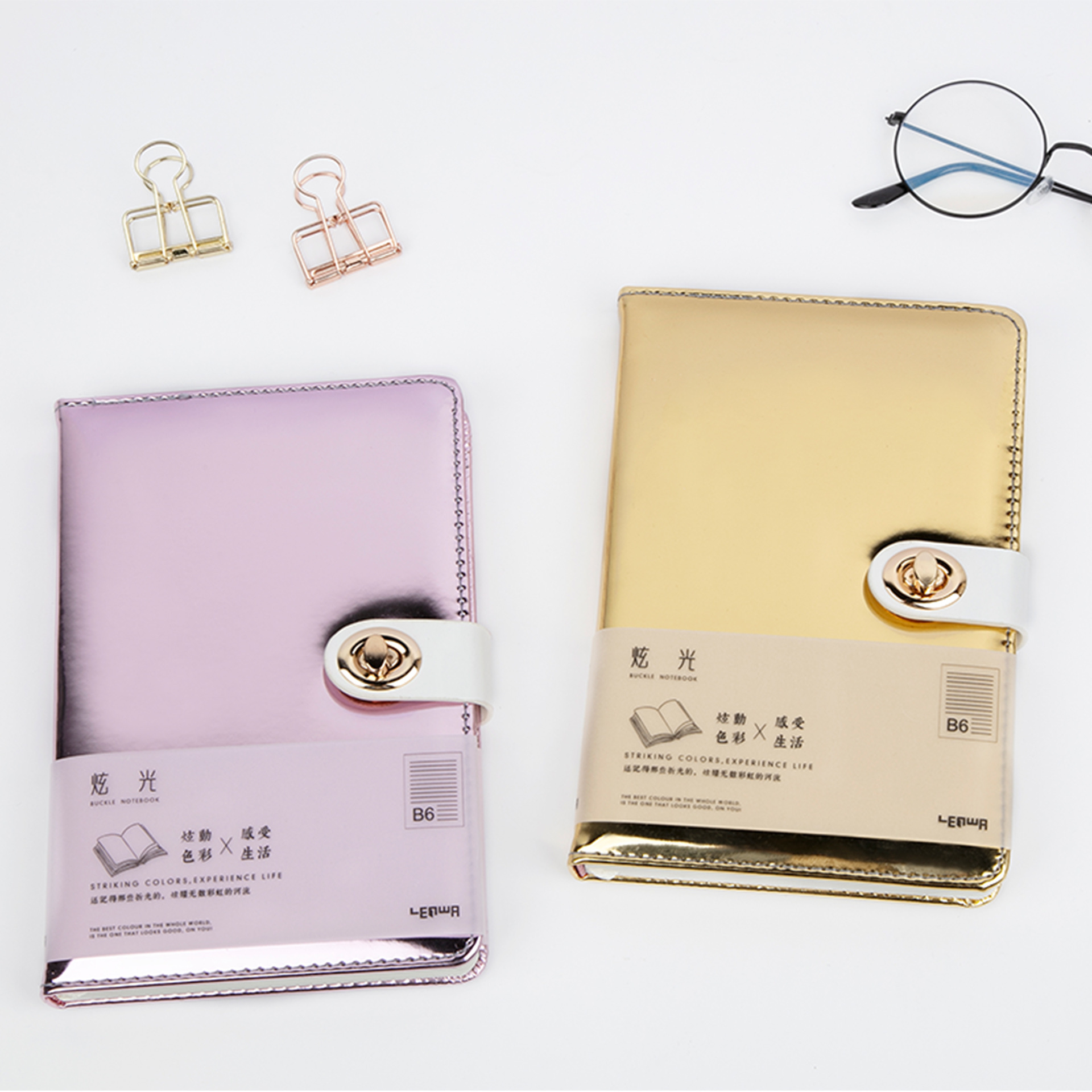 2020 New Creative Office School Laser Hardcover Leather Notebooks Student Subject Composition Copy Note Book With Rules A6