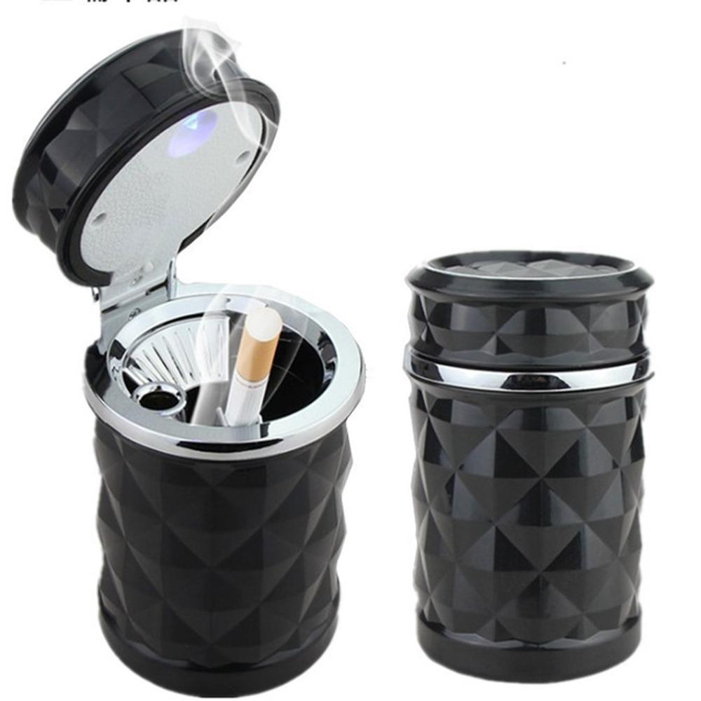 Car Ashtray Safe Flame Retardant Ashtray Diamond Cut LED Light Indicator Universal Cigarette Ash Holder