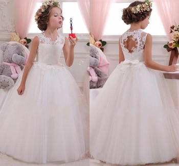 Cute Toddler Flower Girl Dresses Weddings Long Floor Length Crew Neck Backless Pricness Lace First Communion Dresses with Bow