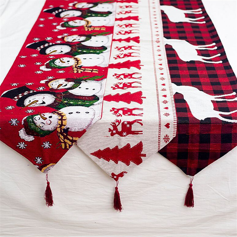 2019 New Cotton Linen Embroidery Christmas Table Runner Snowman Tassel Cartoon Print Tablecloth Christmas Decorations