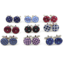 Cufflink Casual Jewelry Mens Shirt Bottons Classic Fashion Plaid Dots Round Buniess Polyester