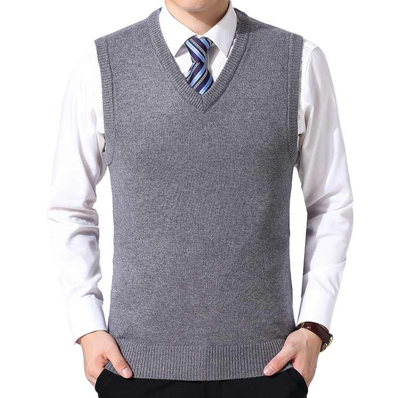 SHUJIN 2019 Men Knitting Sweater Vest Solid Color Cashmere Sweaters Sleeveless Pullover Men V-Neck Slim Knitted Waistcoat Hombre
